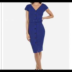 Express button down sheath dress royal blue